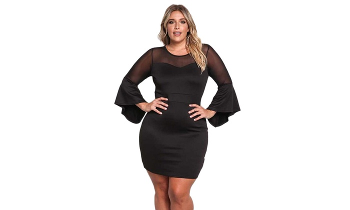 Up To 70 Off On Womens Black Plus Size Mesh Groupon Goods