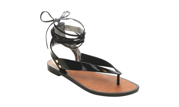 Beston  AC27 Women's Lace Up Ankle Strap Jelly Flat Heel Sandals