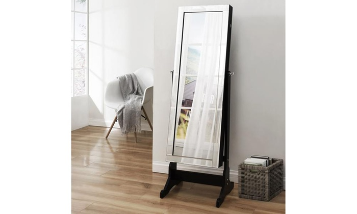 full length jewelry storage mirror border with led lights groupon. Black Bedroom Furniture Sets. Home Design Ideas