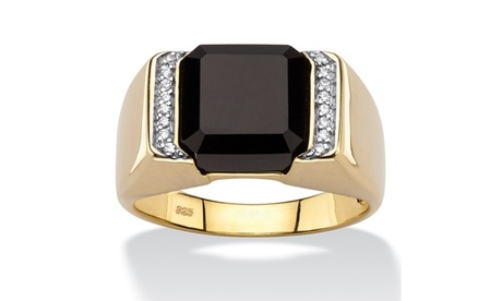 Men's Square Genuine Black Onyx and CZ Accent Ring ce882c12-376c-4914-b07f-ec82d9251a82