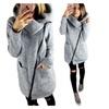 Women's Warm Side Zipper Turn-Down Collar Jacket Hooded Outerwear