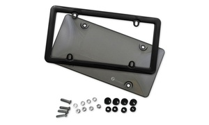 Zone Tech Tinted Smoked License Plate Tag Shield Cover and Frame Auto