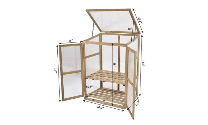 Garden Portable Wooden GreenHouse Cold Frame Raised Plants Shelves ...