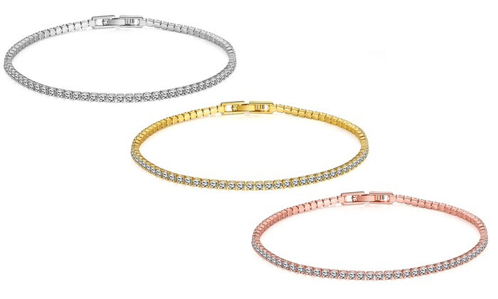 Swarovski Crystal 3mm Tennis Bracelet - Available in 3 Colors 5 ct Gold  Round April Crystal Crystal No Metal Type c5da0a26c7