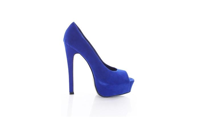 Blue Velvet Open Toe Platform Stiletto Heel Pumps Women's