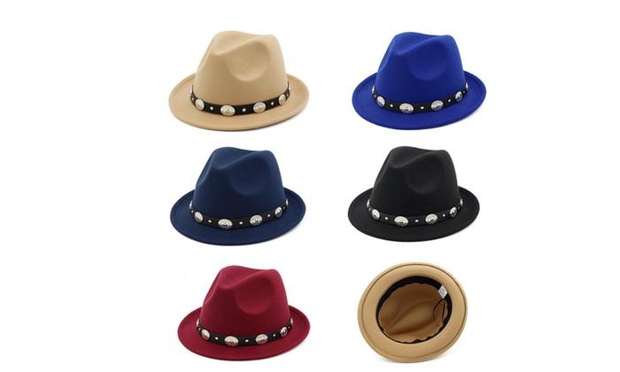 Women Men Vintage Wool Blend Oval Decors Winter Flat Wide Brim Bowler Hat Cap