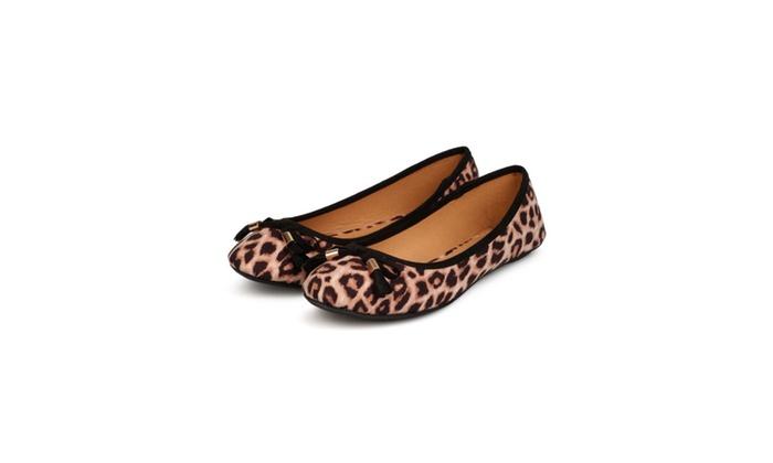 Camel Leopard Ballet Flats