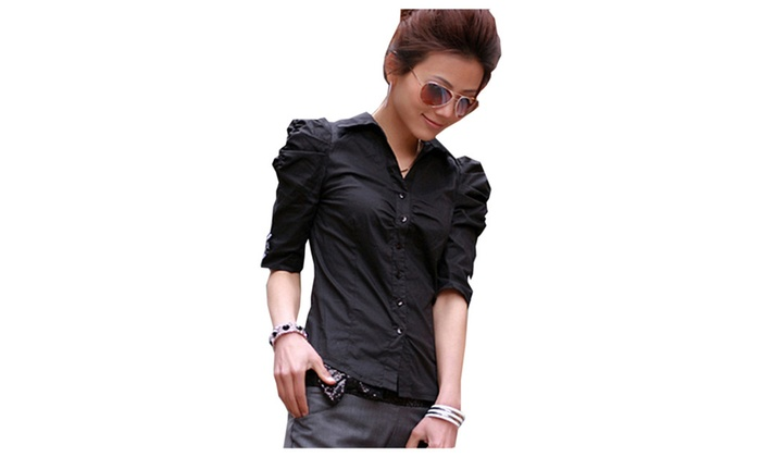 Women's Pleated Short Sleeve Pull Sleeve Slim Fit Button Down Shirt