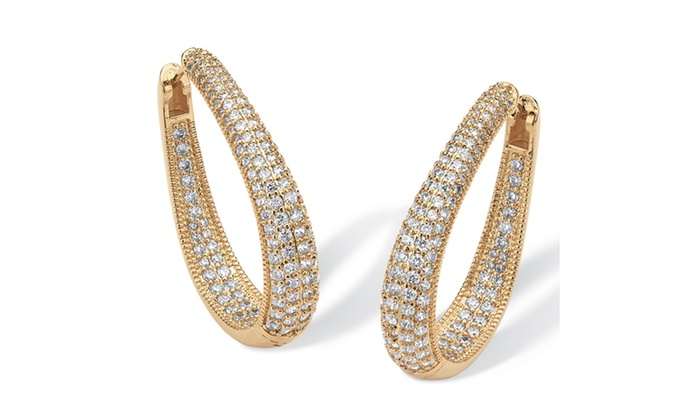8 10 Tcw Cz 14k Gold Plated Inside Out Earrings Groupon