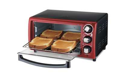 Shop Groupon Hamilton Beach Recertified Red 4 Slice Toaster Oven
