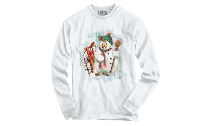 Cute Snowman with Sled Long Sleeve T-Shirt