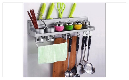 Multifunctional Simple Design Aluminum Wall Hanging Kitchen Rack NEW 86bb3f4a-b679-48da-9178-932a9de0a8be