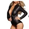 Women Black Faux Leather Zipped Bodysuit Zipper  Long Sleeve Playsuit