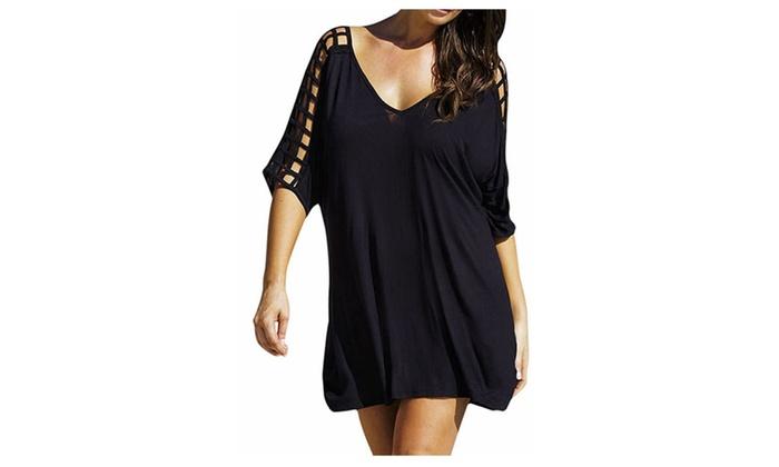 Casual V Neck Cutout Sleeve Loose Beach T Shirt Dress