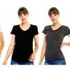 Naf Inc Junior Women Casual Light Burn Out V-Neck Basic T-Shirt 3-PACK