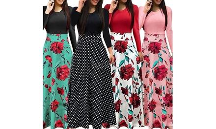 Women General Fashion Dress Long-sleeved High Waist Long Flower Print Dress