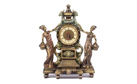 Victorian Style Figurine Statue Clock for Home Decor w/ Bronze Finish 656240f7-24f7-428e-978b-8f7e1834bcc5