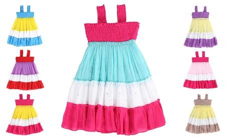 LELEFORKIDS- Toddlers & Girls Gauze Color Block RAYS OF COLOR Dress 1373799f-6970-4cf1-9cc2-28f7af721799
