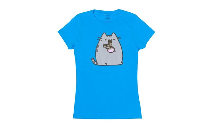 Pusheen Eating Ramen Girls T-Shirt