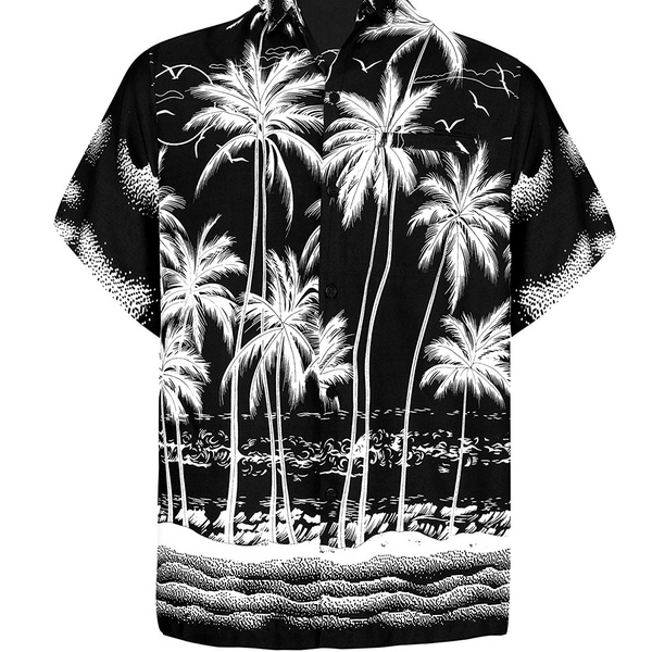 Mens Regular Fit Camp Palm tree Short Sleeves Button Down Hawaiian Shirts aloha
