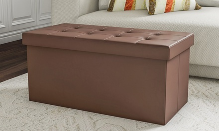 Brown Faux Leather Folding Storage Bench Ottoman 30 Inch with Foam Padded Lid