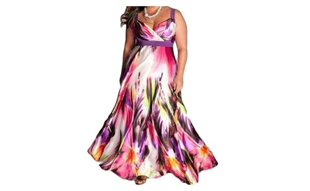 Womens Fashion Tie-dyed Print Maxi Dress Plus Size 671b766e-bb59-4b02-af78-89b035184826