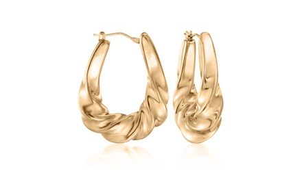 Roman Twisted French Lock Hoops in 14K Gold Was: $99.99 Now: $11.99