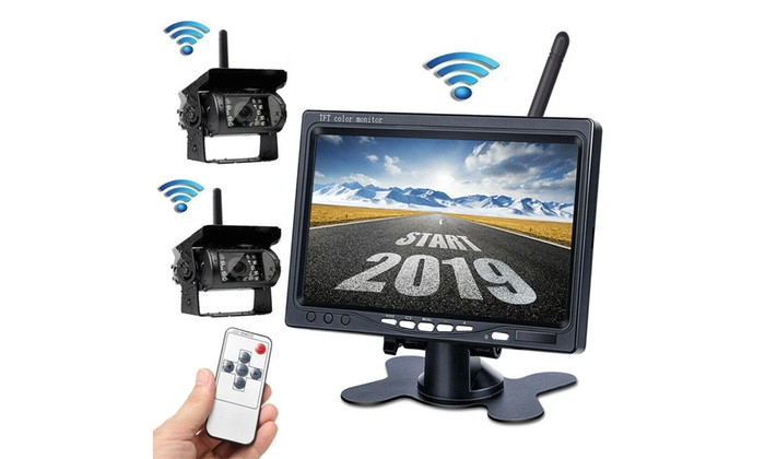 """7/"""" Monitor For RV Truck Bus 2 X Wireless Rear View Backup Camera Night Vision"""