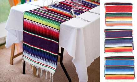 13 x 83-inch Fringe Cotton Mexican Serape Blanket Table Runner
