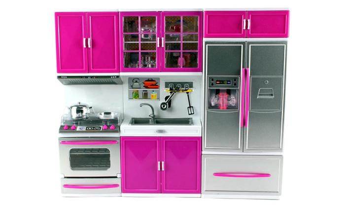 My modern kitchen oven sink refrigerator toy doll kitchen for Kitchen set deals
