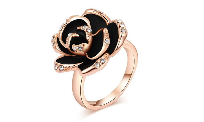 6be0f128c7 Lady Exquisite Crystals Jewelry Ring Rose Flower Inlay Decoration Ring |  Groupon