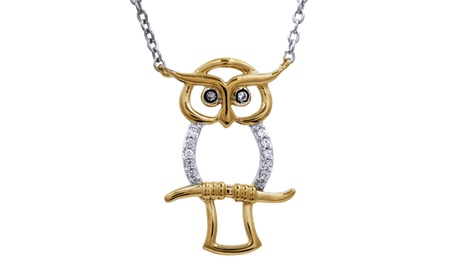 Sterling Silver with Yellow Gold Plate Diamond Accent Owl Necklace cfc58e71-6d32-43c9-9fbd-172b5f58c263