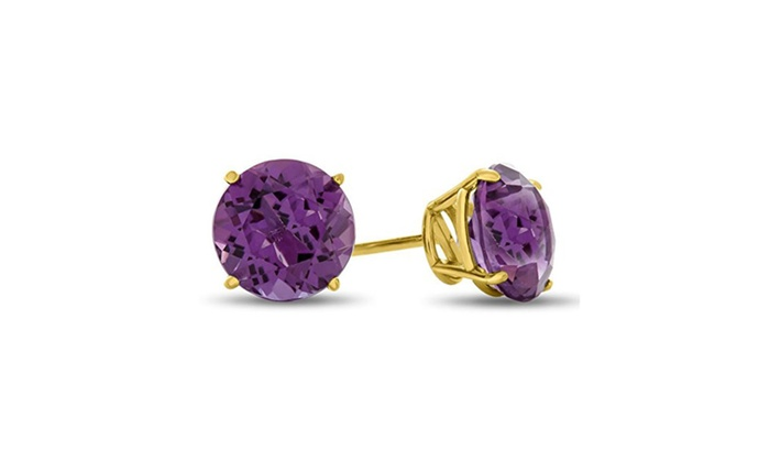 parisbrand: 10kt Yellow Gold Round 7mm Natural Gemstone Stud Earrings