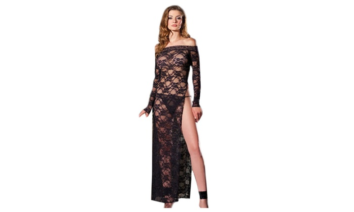Women's Lingerie Black Floral Lace Sexy Gown With Slit - Black / one size
