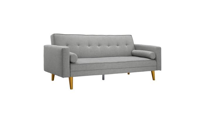 Gray Novogratz Vintage Linen Upholstered Futon