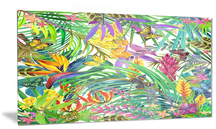 Tropical Leaves And Flowers Floral Metal Wall Art 28x12