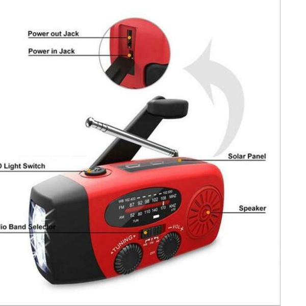 2 x Emergency Hand Crank Power Self Power FM Radio w// LED Flashlight Torch Light