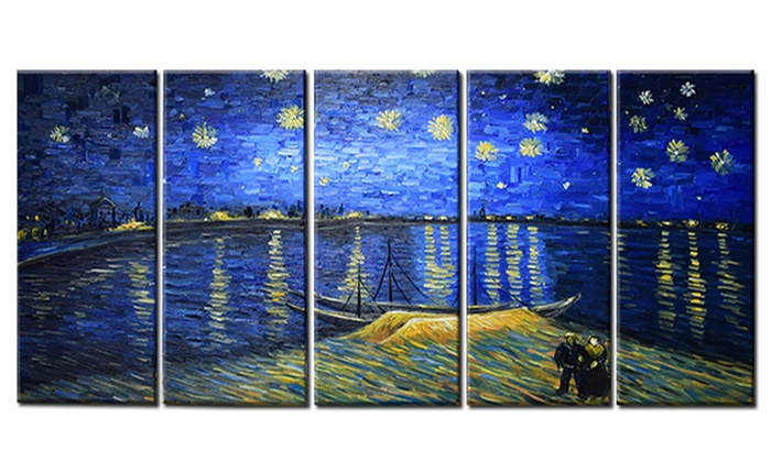 Handpainted van gogh starry night over the rhone 60x28 for Starry night over the rhone hd