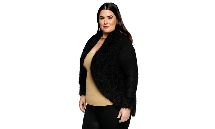 8114848261f15 ... Xehar Womens Plus Size Fuzzy Cocoon Contrast Trim Open Front Cardigan  Sweater ...