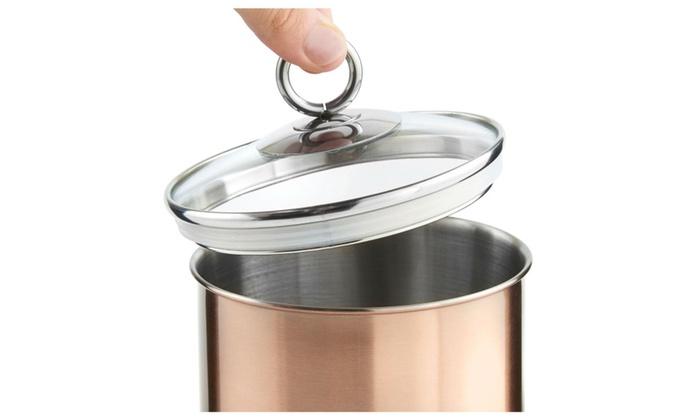 41b4648886ba Tea Coffee & Sugar Canisters VonShef Set of 3 Copper Kitchen Storage ...