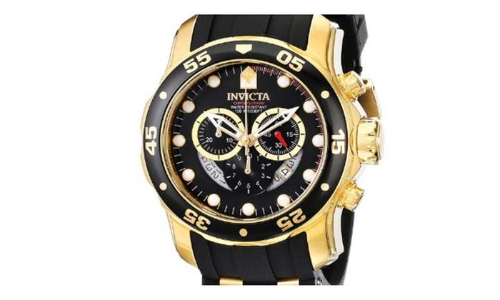 On Time Store: Invicta Men's 6981 Pro Diver Collection Chronograph Black Dial Black