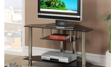 SIMPLE RELAX Shiny Metal Glass Triangular Occasional TV Stand, Black photo