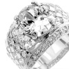 JT Jewelry Silver Oval Cubic Zirconia Ring Size 12