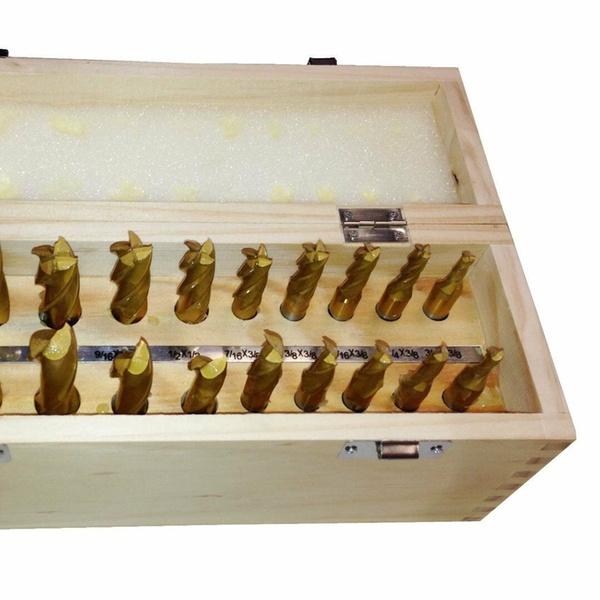 "20 PC HSS 4 /& 2 Flute 3//16/"" 3//4/"" Tin Coated End Flute Mill Set"