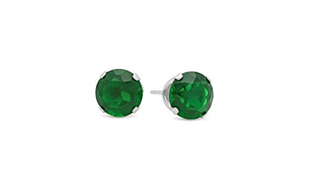 Sterling Silver Round Lab-Created Emerald Gemstone Stud Earrings 3328bb38-d74e-4382-babb-32eab549be32