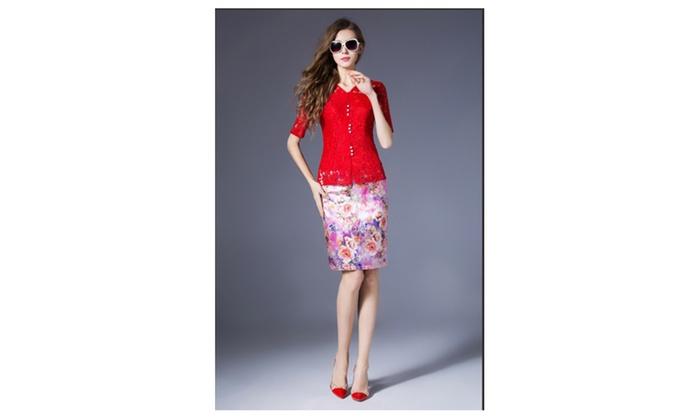 Women Short Sleeves Fit Waist Shirt and Blouse - KMWSB780