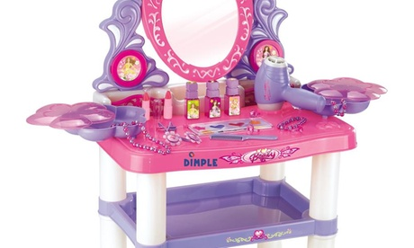 Princess Themed Vanity Girls Set with 16 Fashion & Makeup Accessories, Flashing