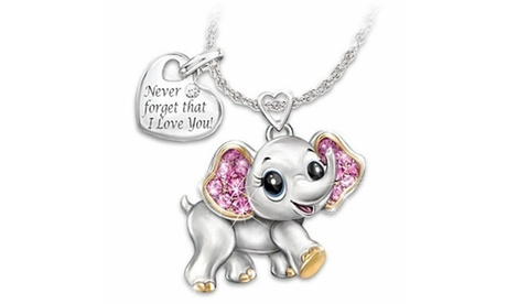 Fashion Ladies 18K Gold 925 Silver Pink Diamond Elephant Pendant Necklace