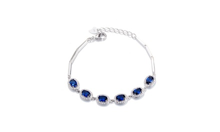 Sterling Silver and Sapphire Oval Cut Halo Bracelet