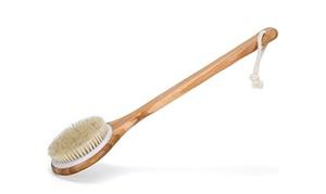 Dry Body Brush for Skin Brushing Natural Boar Bristles Long Handle